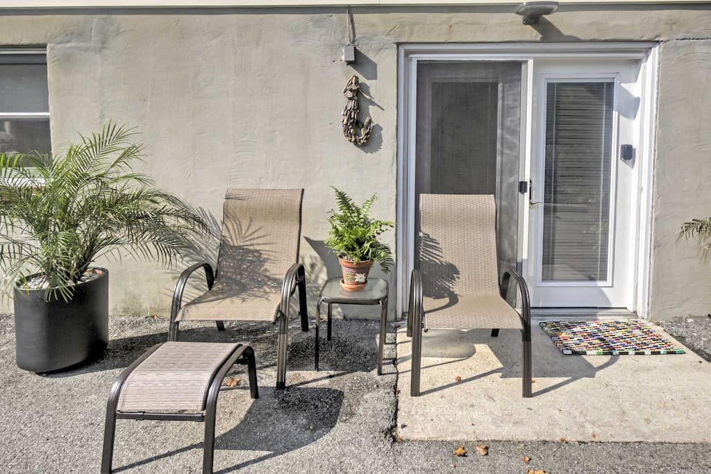 Outside patio furniture makes for a great space to enjoy your morning coffee!