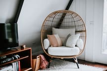 Huge, comfy egg chair. The perfect place to read your favorite book