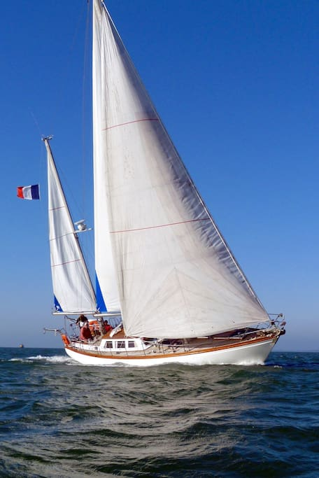 - Un navire hauturier taillé pour la grande croisière, si l'envie vous prend de réserver le bateau pour la journée..