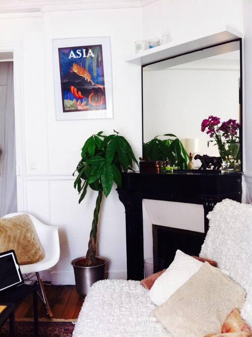 Petit salon cosy avec cheminée en marbre noir