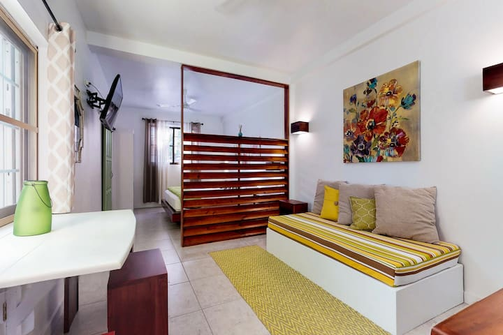 Tropical studio w/ patio - steps to the sea, water taxis, restaurants & tours!