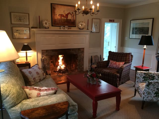 Living Room with fire (wood provided by owner)
