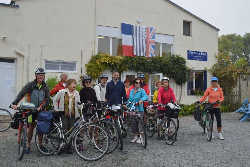 A cycling group in front of the centre