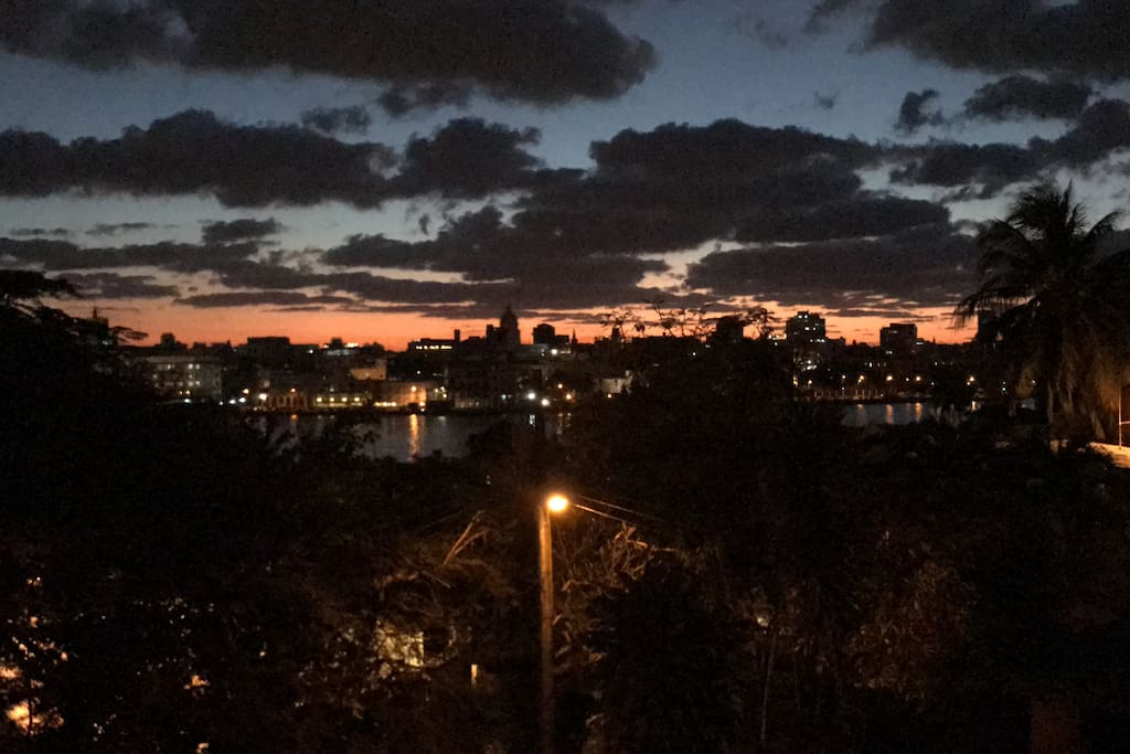 View of sunset over Old Havana from your private terrace
