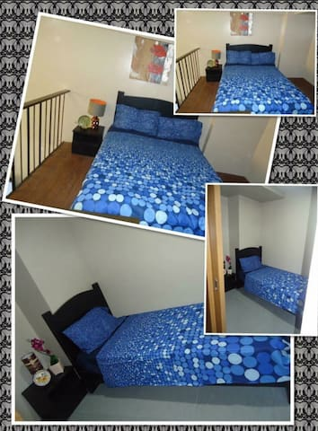 Queen size and single bedroom