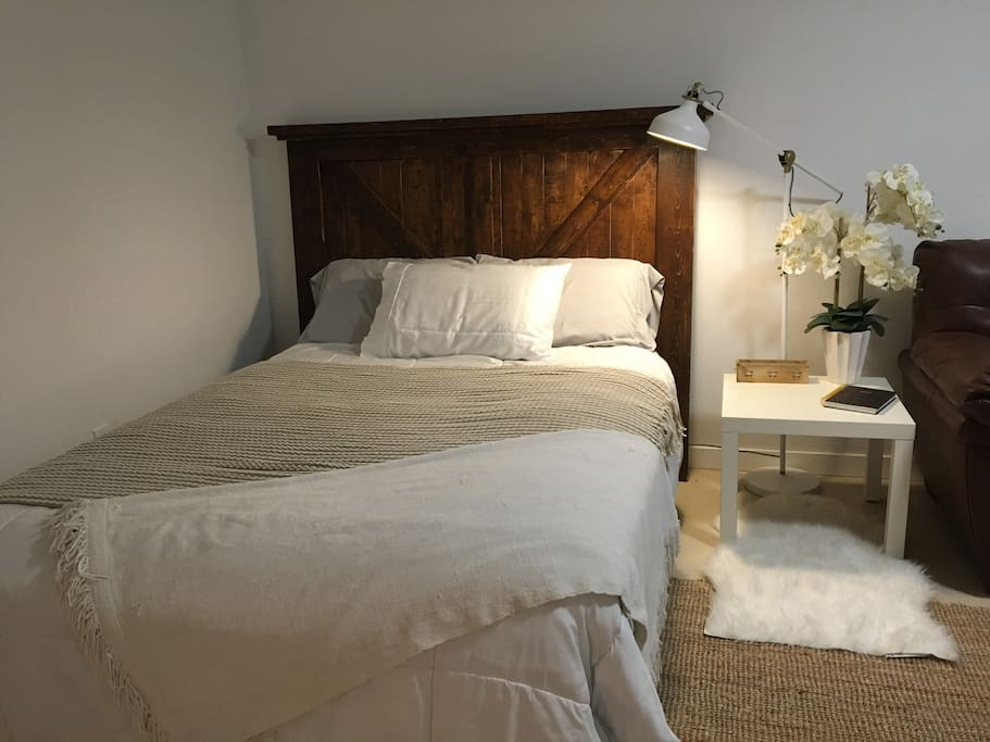 Double bed with comfortable  mattress.