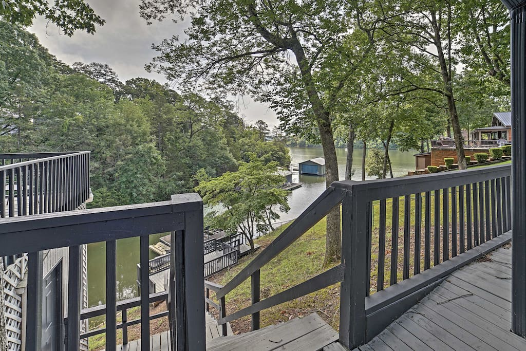 This stunning property boasts a private dock and deck.