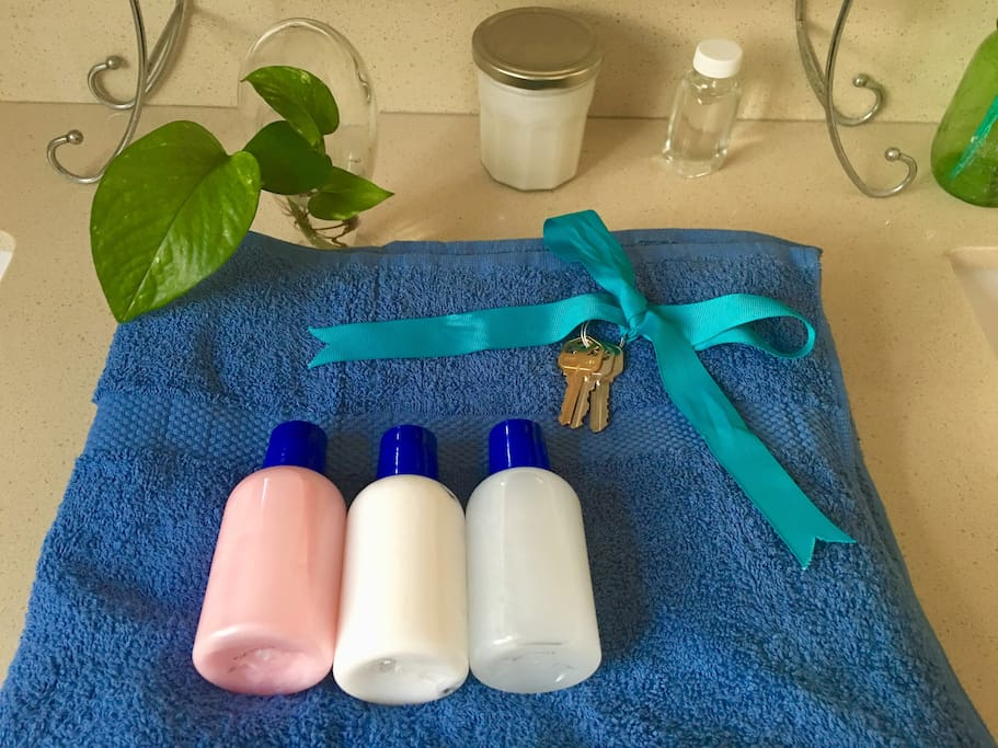 We provide shampoo, conditioner, soap, and fresh towels and linen upon your arrival.  you will get your own set of keys to come and go as you please.