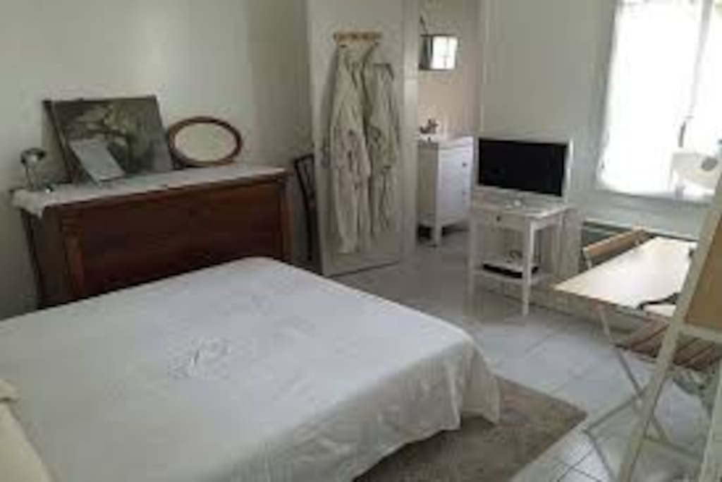 1 bed with tv and office