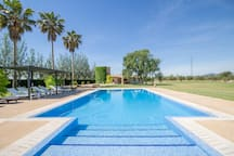Large Finca for 15 persons (12 adults plus children), 7 DBR, 5 BR (3 en suite), 1 Guest-WC, Wifi-Internet, 1 extra tower apartment, sauna, pool, soccer field, golf course and idyllic outdoor area, close to Sa Pobla.