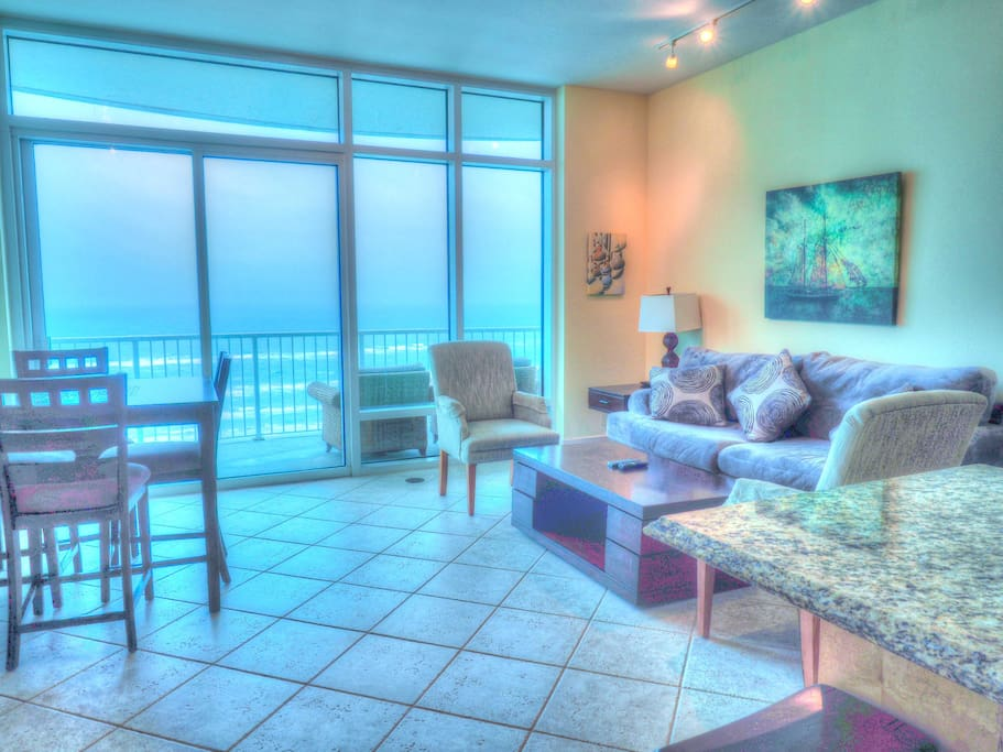 Living Room with beach view and balcony