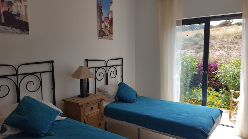 Twin Bedroom overlooking agricultural land