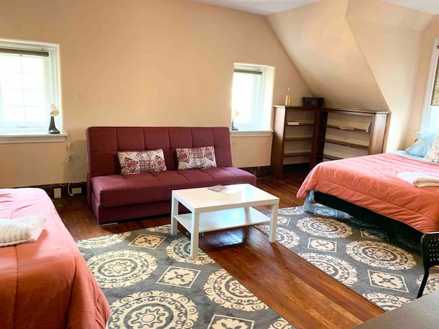 Large room w/ 2 queen & sofa beds great to share