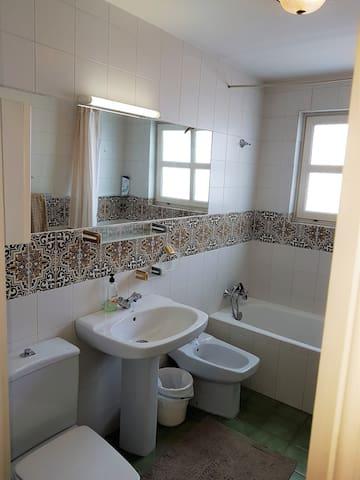 Main bathroom with bathtub and bidet