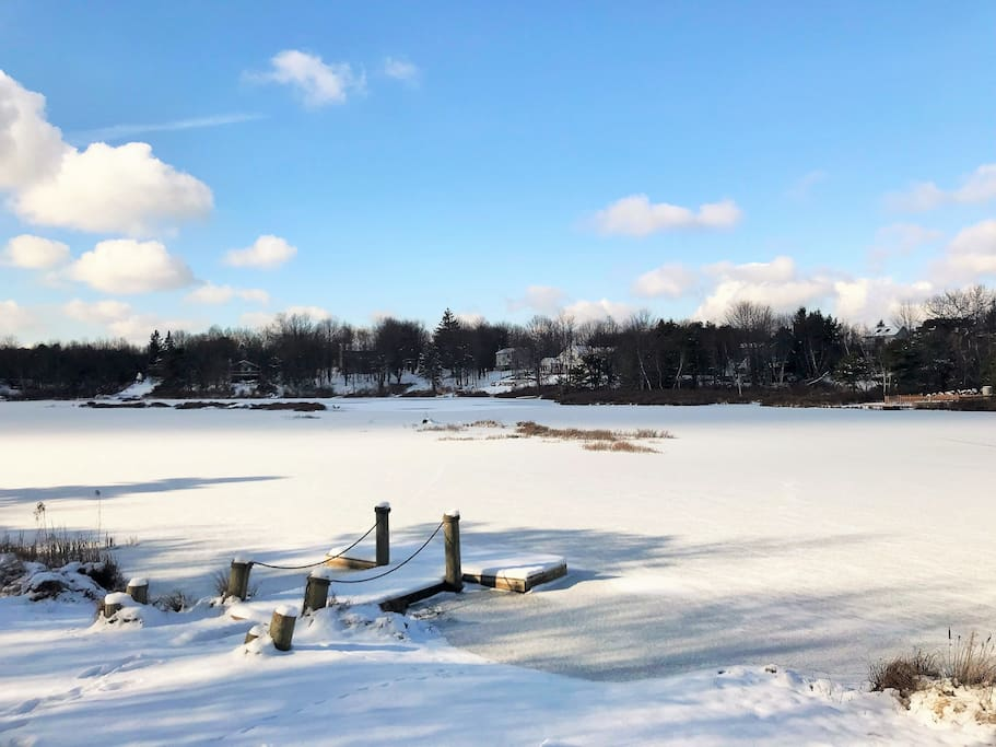 Lake, private dock