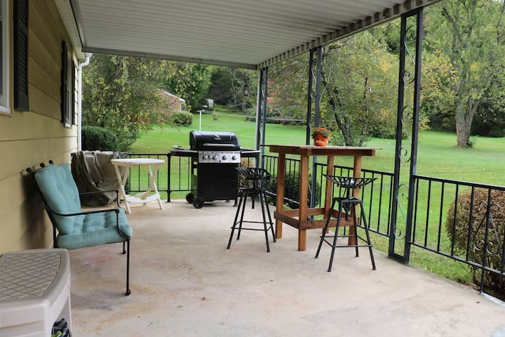 Great back porch to enjoy a cookout or a morning cup of coffee…