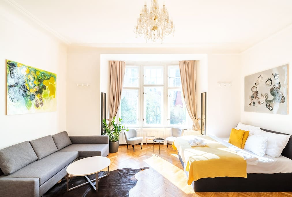 Master bedroom/living room allowing 4 persons to sleep comfortably with vasts amount of space and beautiful views towards the Jewish quarter.