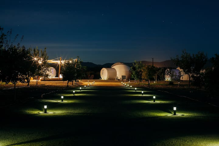 Pathway to the Bubble at night
