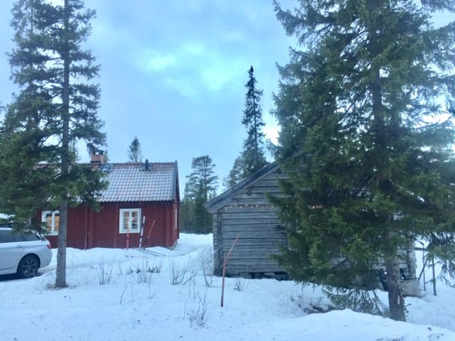 You will have the log cabin for yourself.  Nature is right at the door step.  If you like cross country skiing it's 8 km by skiis  to Järpstugan ( se their FB page)