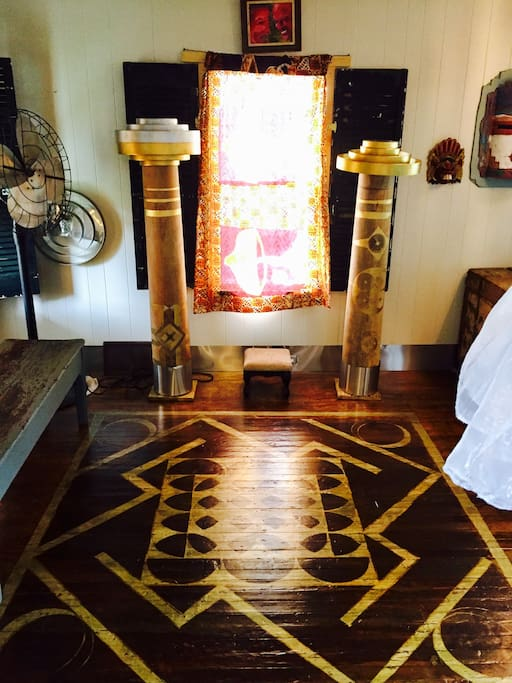Owner designed and created Gold and Silver leaf  sacred geometry hand painted floor.
