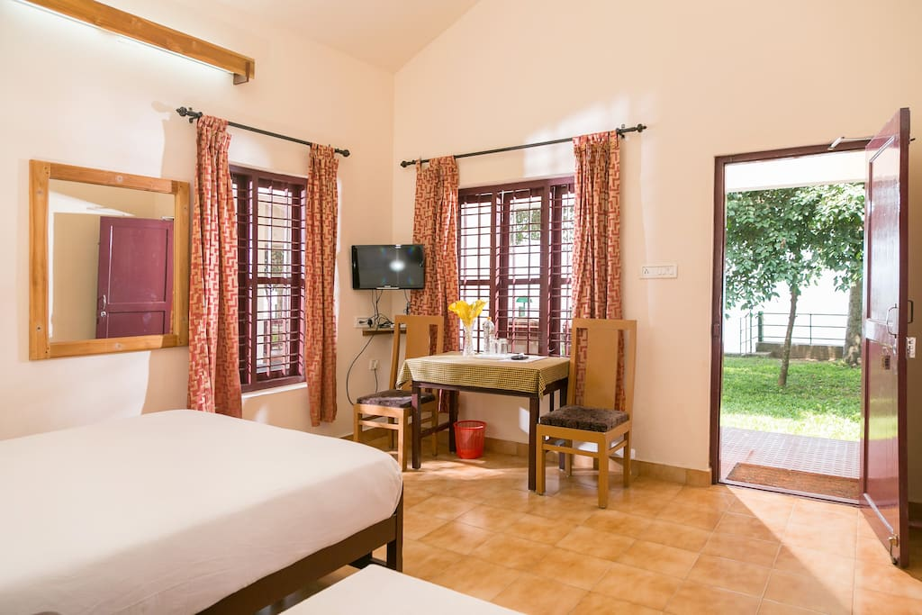 View of the Vembanadu Lake from Lakeside A/c room