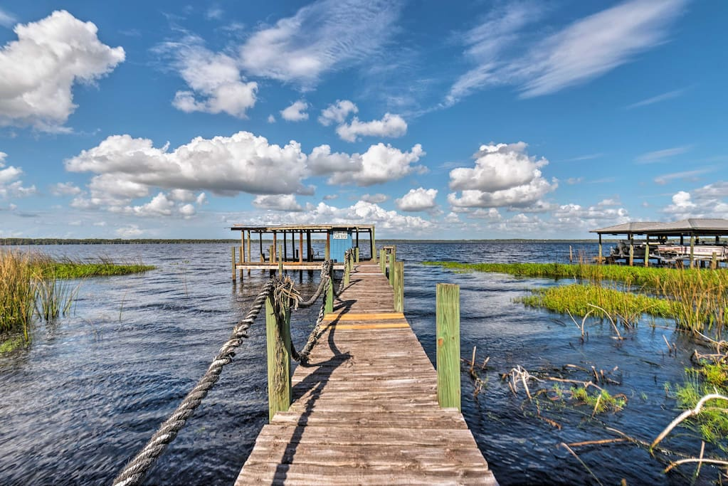 Walk through the marsh and out onto the 260-foot private dock!