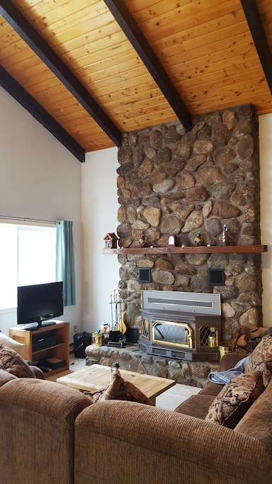 Gorgeous wood burning fireplace with insert to keep you warm on those chilly winter nights.