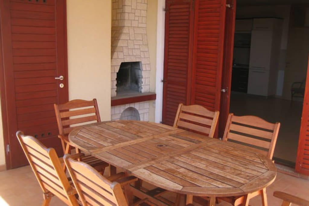 Balcony table with barbecue