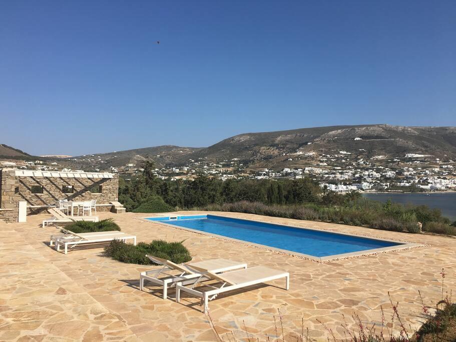 Pool, terrace and bbq overlooking Parikia bay