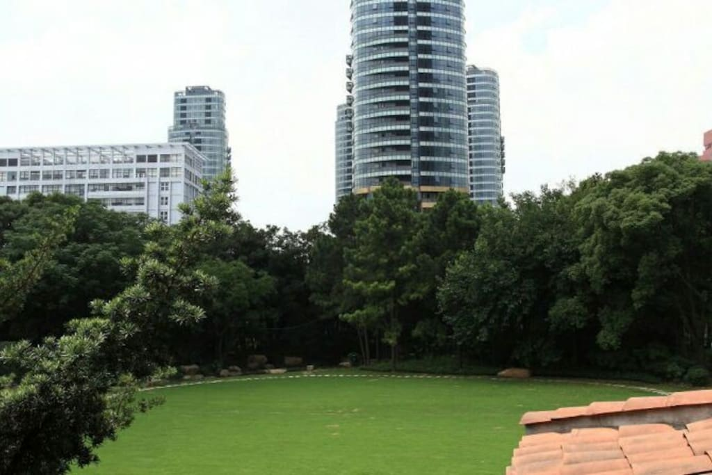 Park within compound among heritage mansions
