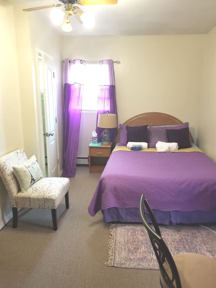 Queen bed in this efficiency apt, with mini fridge, microwave  private bath(no kitchen)