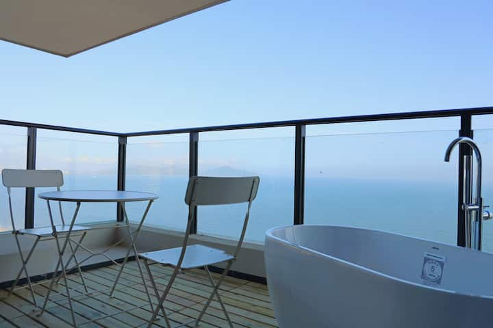 【SeaYoo】R17 保利玥海 高层一线海景 巨幕投影 浴缸 沙滩1分钟