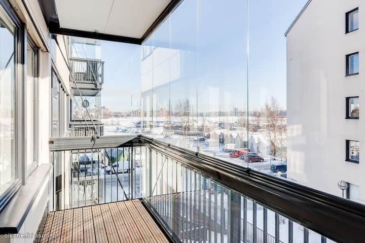 Nordic Studio with Sea View, Balcony and Sauna