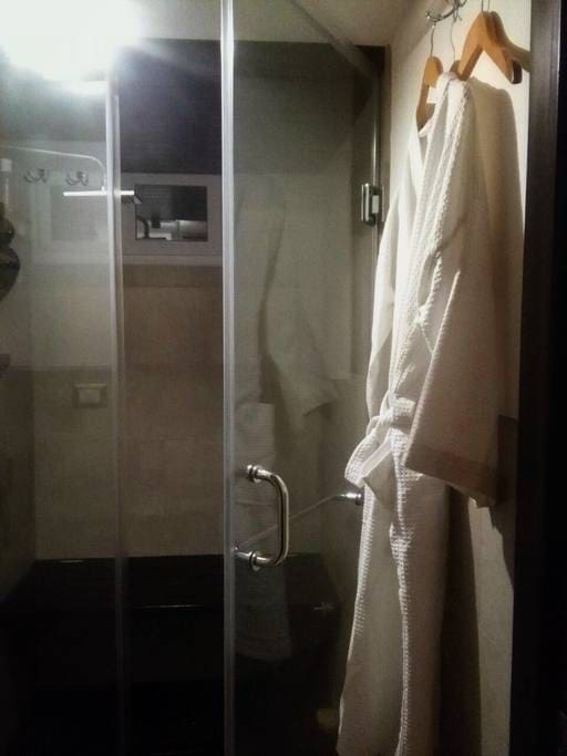 Steam room shower with glass doors. Includes foldout bench to sit and relax on.