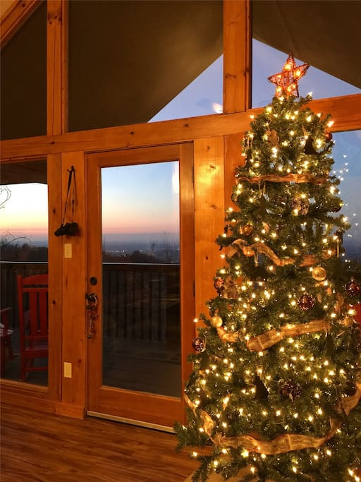 Holiday decorations with a great view outside!