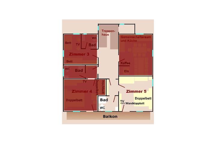 Grundriss Zi. 5 (1 bis 3 Gäste; ca. 24 qm; Balkone sind noch im Bau)