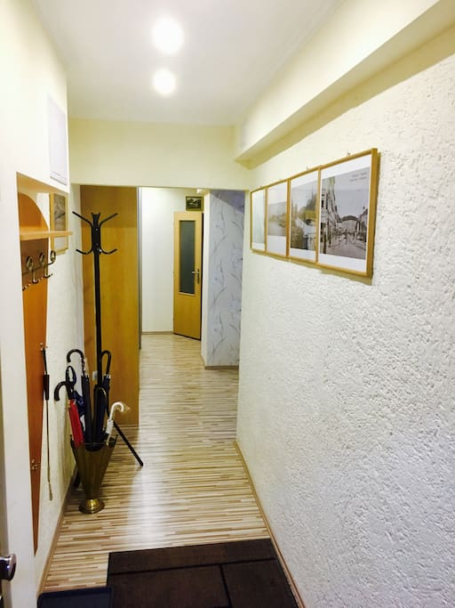 Entrance/hallway with old Bratislava pictures, very nice to compare to what you see outside!
