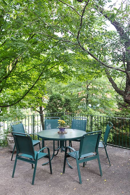 enjoy our deck seating among the trees