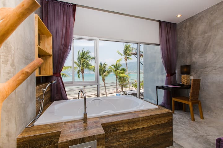 B Designer King Bed with Partial SEA VIEW bath :)