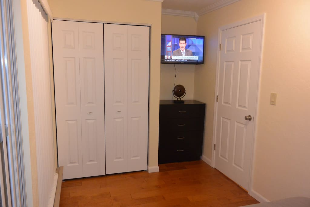 Bedroom TV and closet space