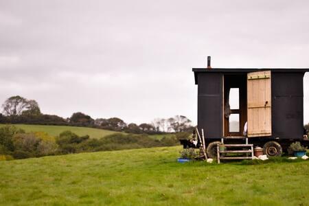 Shepherds Hut w/burner near to sea - a cosy treat