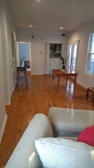 Bright living room/dining room facing North,  bdrm in back.