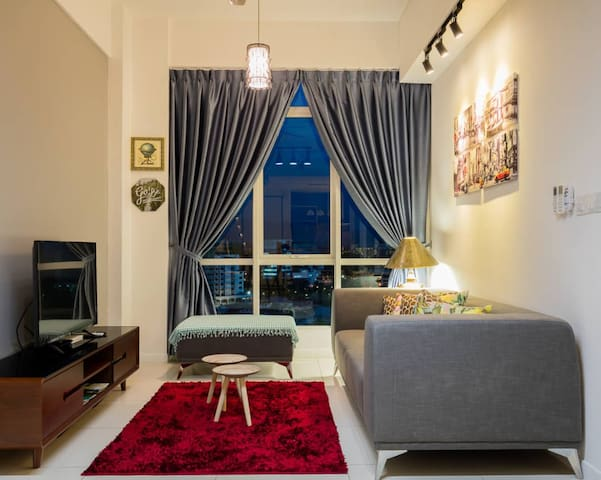 Cozy living room by night - the perfect place to relax and unwind in