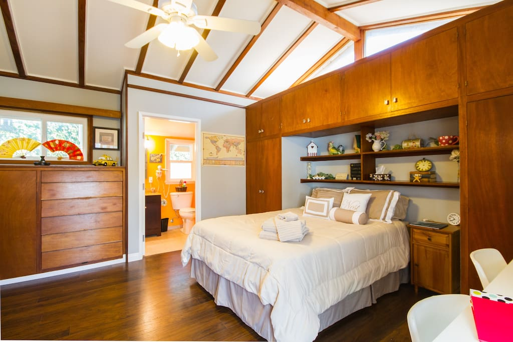 Spacious and private guest suite in the back of our home.