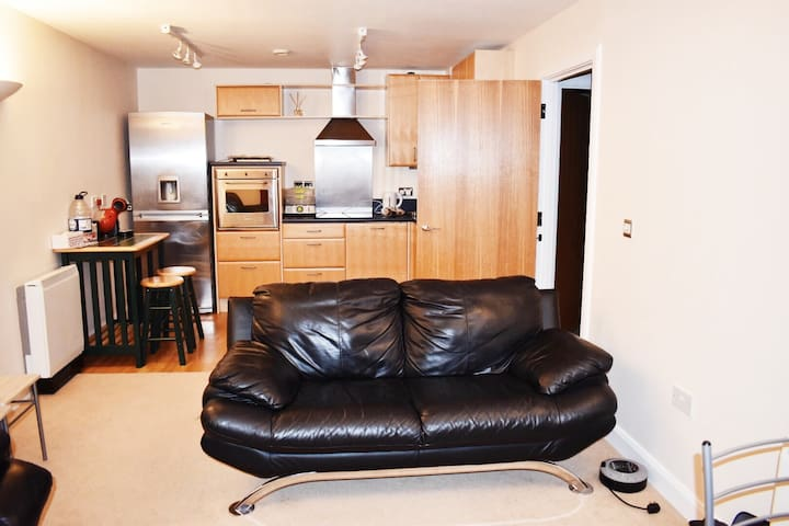 Lux 1 bed apartment: balcony and free car parking
