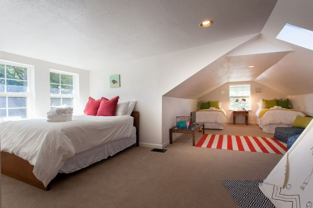 Have kids (or family members who are kids at heart?) They will never want to leave this upper-level kid's room, complete with teepee, television and the comfiest twin-sized, and full-sized beds in town!