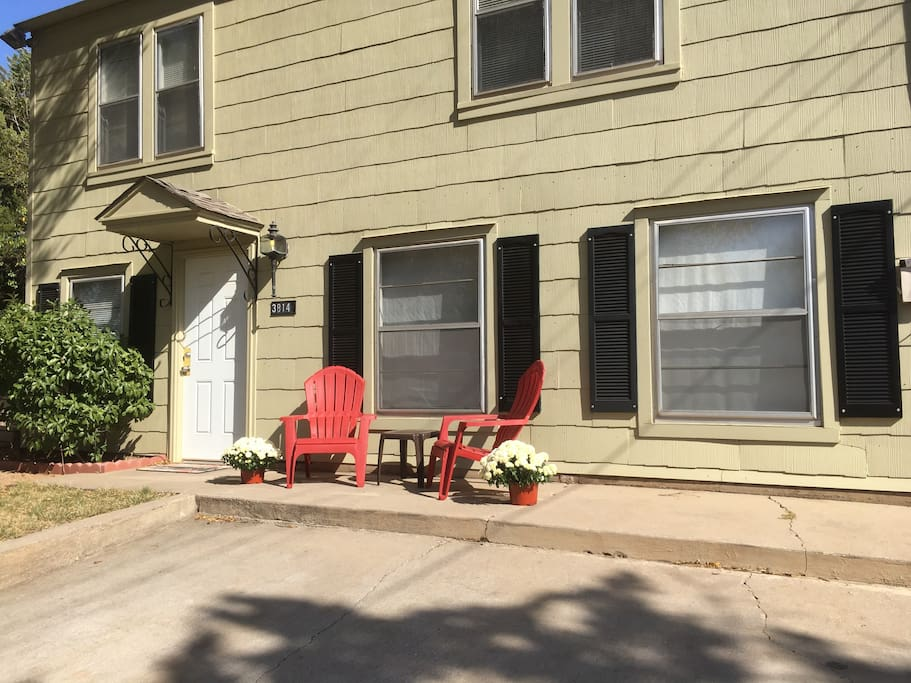 Front porch and parking area.