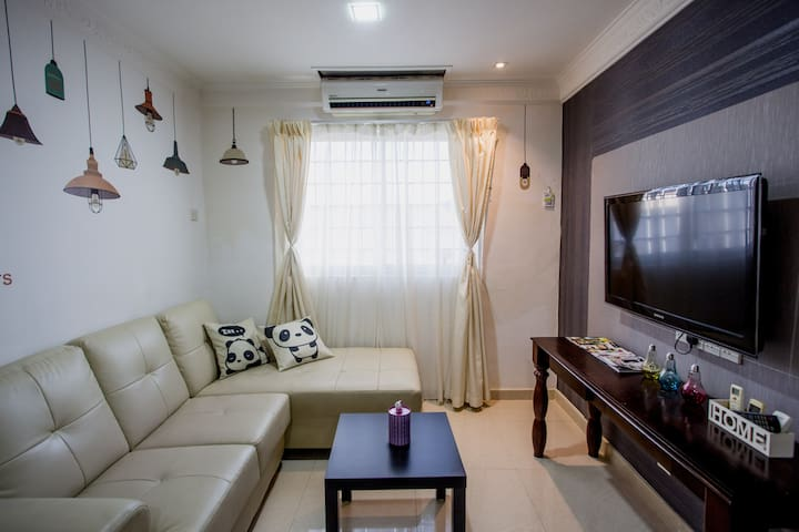 Living Room come with Air-Con and Bigger & Softer Sofa to Enjoy your TV Program.