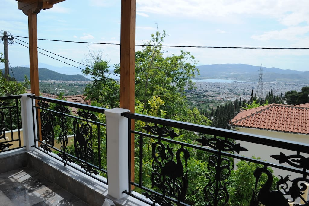 Veranda with a beautiful view of Volos