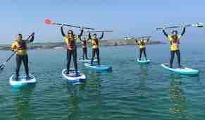 """Stand up paddle boarding.... something to try while you are here, hire your own from """"The Pit"""" just up the road, or have lessons with Harlyn surf school."""